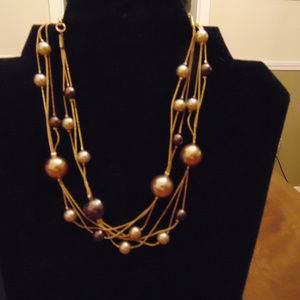Gold Tone Layered & Beaded Pearlescent Necklace